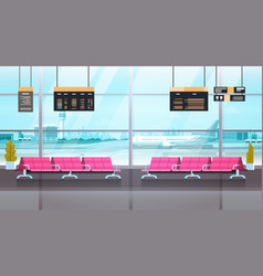 Airport interior waiting hall departure lounge vector