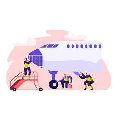Airport worker service and cleaning plane people vector