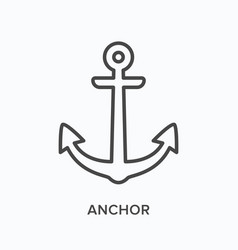 Anchor flat line icon outline vector