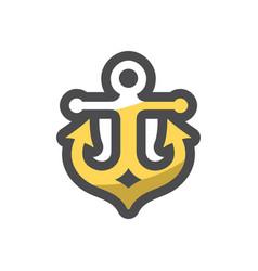 anchor golden armature icon cartoon vector image