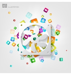 Application buttonSocial mediaCloud computing vector image