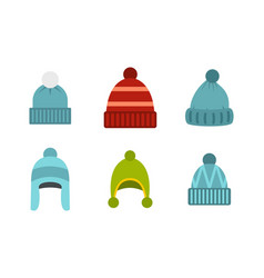 Beanie icon set flat style vector