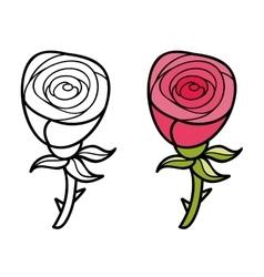 Beautiful cartoon rose vector image
