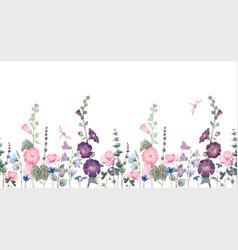 beautiful horizontal seamless floral vector image