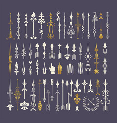 Big set of hand drawn arrows and design elements vector