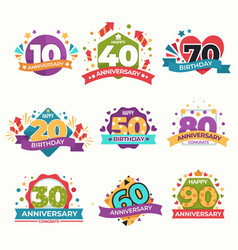 birthday and anniversary isolated greeting icons vector image