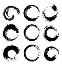 Black circles shape brush strokes set vector