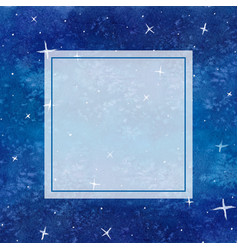 Blue galaxy night sky watercolor banner card vector