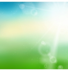 Blurred summer background with sun and transparent vector