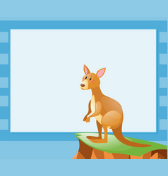 border template with kangaroo on the cliff vector image