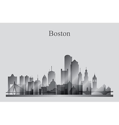 Boston city skyline silhouette in grayscale vector image