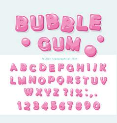 Bubble gum font design sweet abc letters and vector