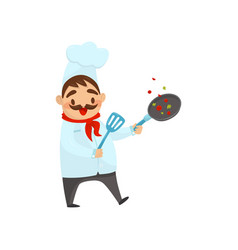 cheerful chef in process of cooking food man with vector image