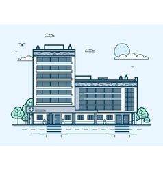 City street with contemporary multistorey hospital vector