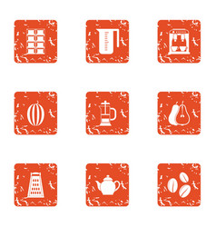 Coffee day icons set grunge style vector
