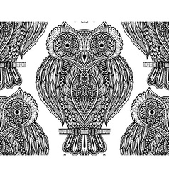 Colorful seamless pattern with owls on branches vector image