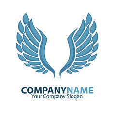 company name emblem with blue bird wings isolated vector image
