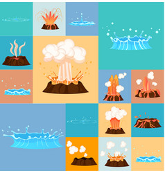 Concept of active volcano and geyser in action vector
