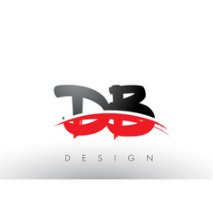 Db d b brush logo letters with red and black vector