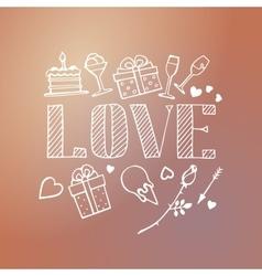 decorative love card template vector image