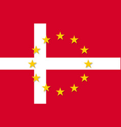 denmark national flag with a star circle of eu vector image