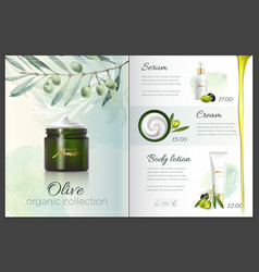 Design cosmetics product advertising for catalog vector