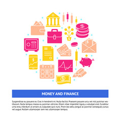 finance and money round concept in flat style with vector image