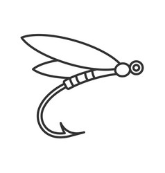 Fly fishing linear icon vector