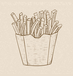 french fries in a paper cup hand drawn sketch on vector image