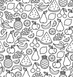 Fruits doodle pattern in black vector image