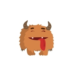 Furry Childish Monster With Horns vector