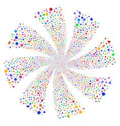 Geometric figures fireworks swirl flower vector