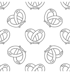 German pretzels seamless pattern on white vector image