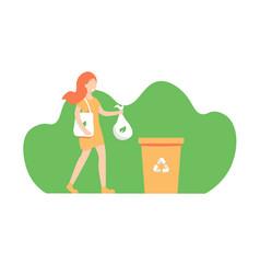 Girl throws out trash vector