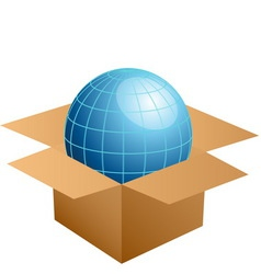 globe in cardboard box vector image vector image