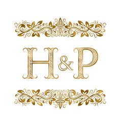 h and p vintage initials logo symbol vector image