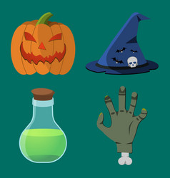 halloween icon set pumpkin hand flask hat vector image