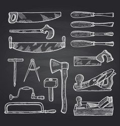 hand drawn carpentry on black chalkboard vector image