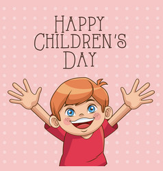 happy children day card cute boy wearing red vector image