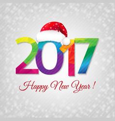 happy new year card with santa cap vector image