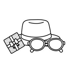 Hat with glasses and gift box black and white vector