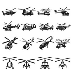helicopter icons set simple style vector image