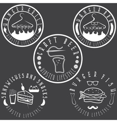 Hipster style food labels vintage set vector
