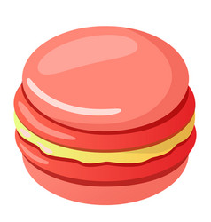 Icon cartoon pink macaroon vector