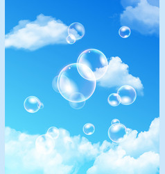 iridescent bubbles floating against blue sky vector image