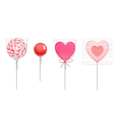 lollipop candies in heart shape for valentines day vector image
