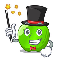 Magician green smith apple isolated on cartoon vector