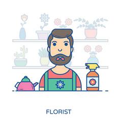 Male florist avatar vector