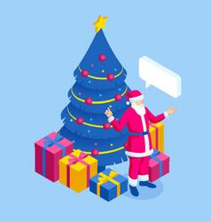 merry christmas santa claus near christmas tree vector image