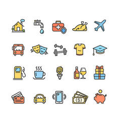 Monthly expenses signs color thin line icon set vector